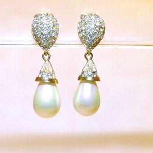Vintage Dior Pearl and Crystal Drop Earrings
